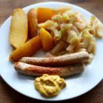 Vegane Bratwurst mit Bio Kartoffel und Kohlrabi Bio