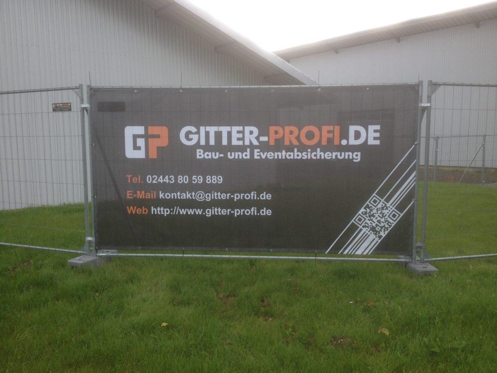 Werbeplanen am Bauzaun Firma Gitter Profi