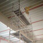 Aufbau Layher 1401105 in einer Speditionshalle naehe Duesseldorf Vermietung