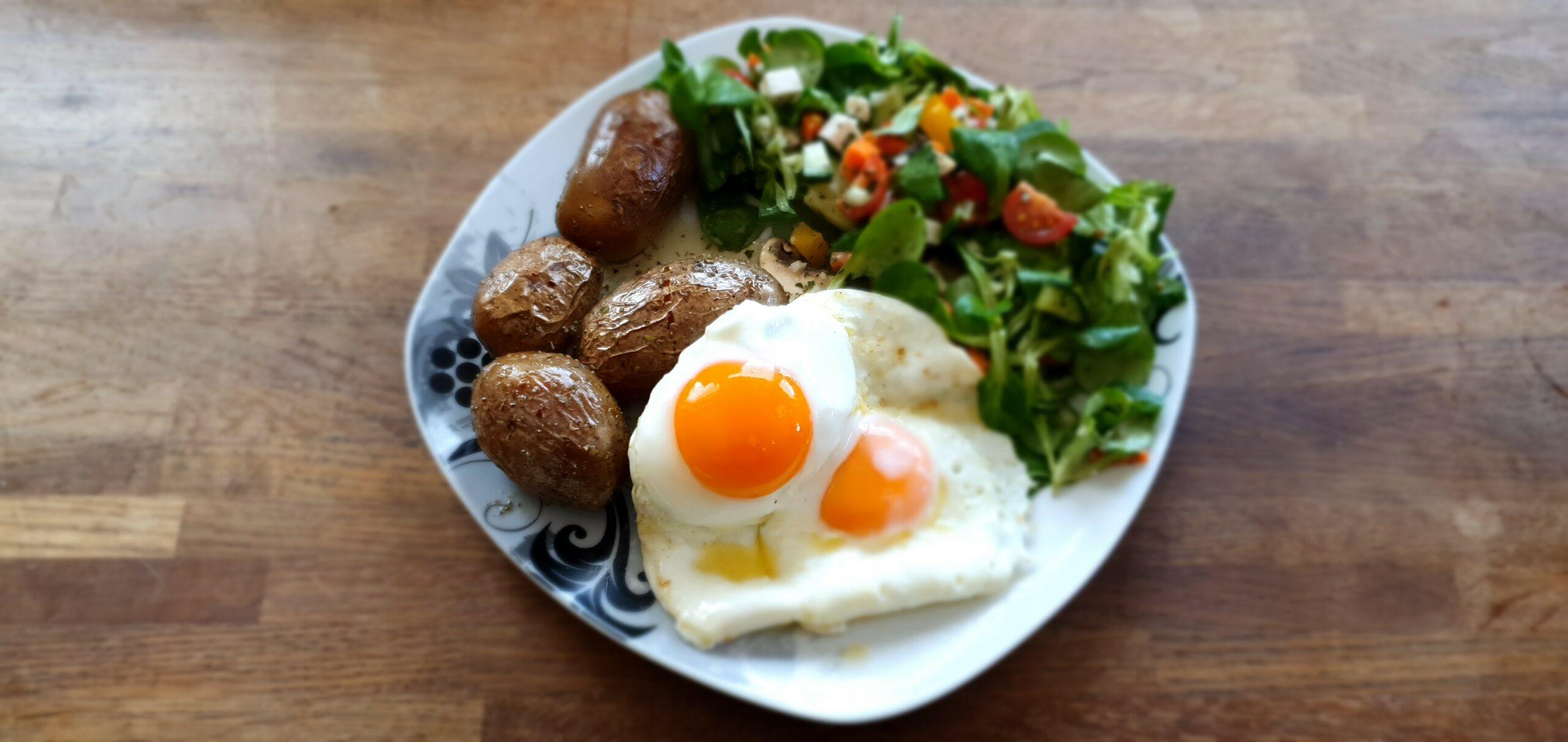 Bio Pellkartoffel Bio Spiegeleier und frischer Salat